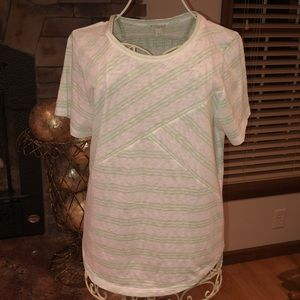 J. Crew Essential Cotton T- Shirt with Mint Stripe
